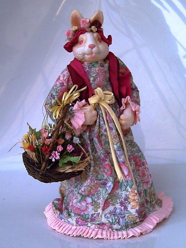 典藏鄉村布偶系列:立式提花籃母兔