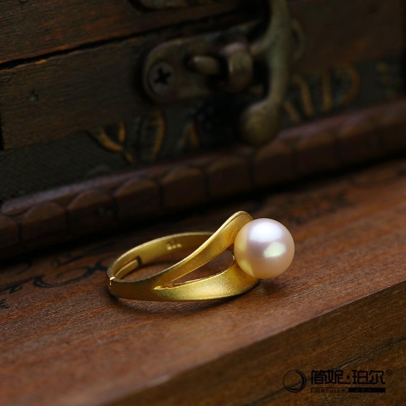 5折 8.5-9天然淡水珍珠戒指925銀電鍍黃金簡約時尚都市氣質