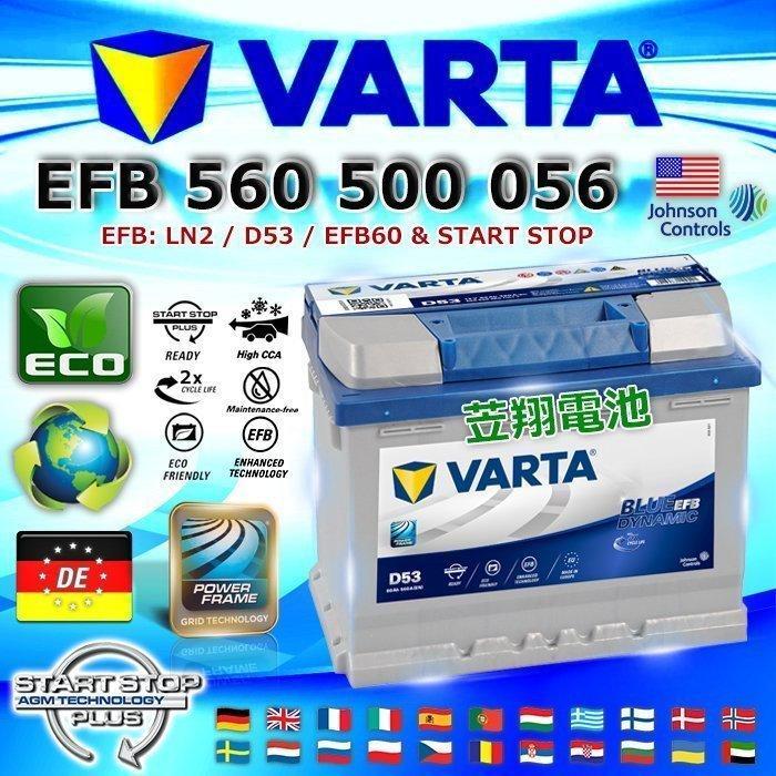 ☆電池達人☆VARTA D53 EFB LN2 德國進口 華達 汽車電池 VITARA JUKE SKODA 福斯 台南