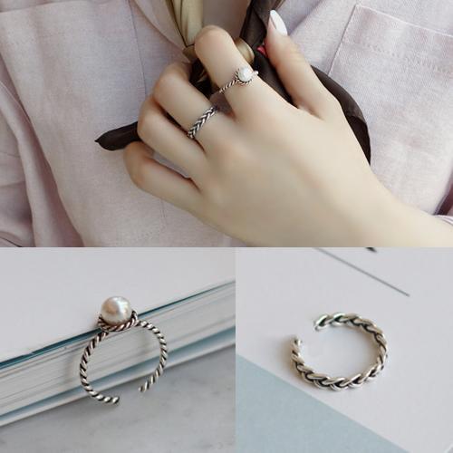 韓版925純銀復古絞繩編織天然淡水珍珠開口戒指指環明星同款