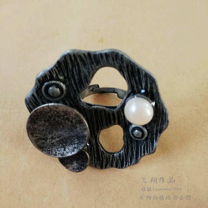 秋微涼復古戒指 民族棉麻戒指 天然淡水珍珠鑲嵌戒指 可調節尺寸