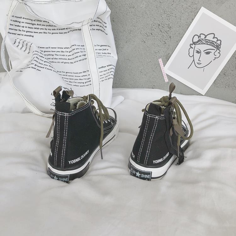 999小舖高筒鞋 高筒帆布鞋女夏嘻哈街舞鞋潮新款百搭網紅女鞋原