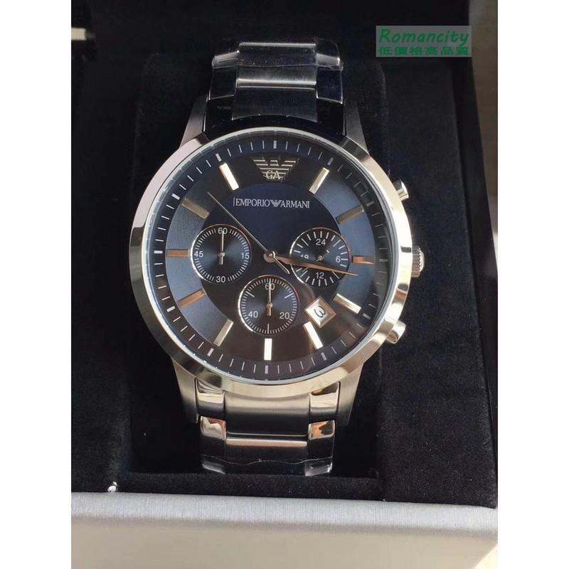 現貨ARMANI亞曼尼手錶 AR2448藍色錶盤不銹鋼錶帶多功能三眼計時腕錶男錶43mm