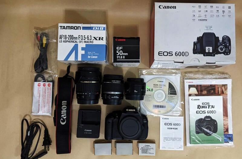 Canon 600D單眼相機+18-55mm Kit鏡+F1.8 50mm定焦鏡+TAMRON騰龍18-200mm旅遊鏡