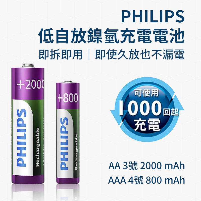 PHILIPS 低自放 鎳氫 充電電池  3號 4號 單顆入 800mAh  2000mAh 即拆即用