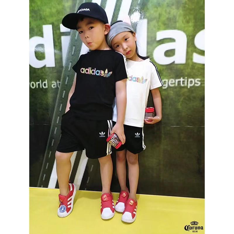 Adidas 2018愛迪達夏季童裝經典款短袖短褲拉條運動套裝