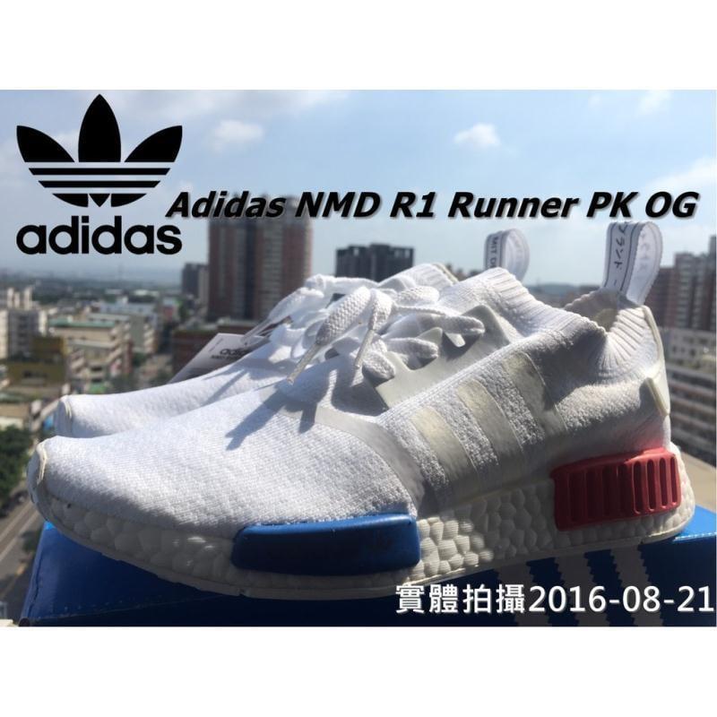 實體拍攝 ADIDAS NMD BOOST PRIMEKNIT PK 編織 全白 藍紅 OG 初代 慢跑鞋 S79482