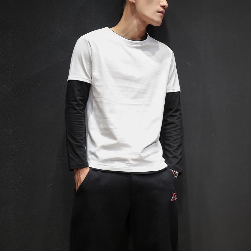 『年終免運』t恤男長袖薄款假兩件秋季日系學生黑白撞色T恤韓版打底衫潮