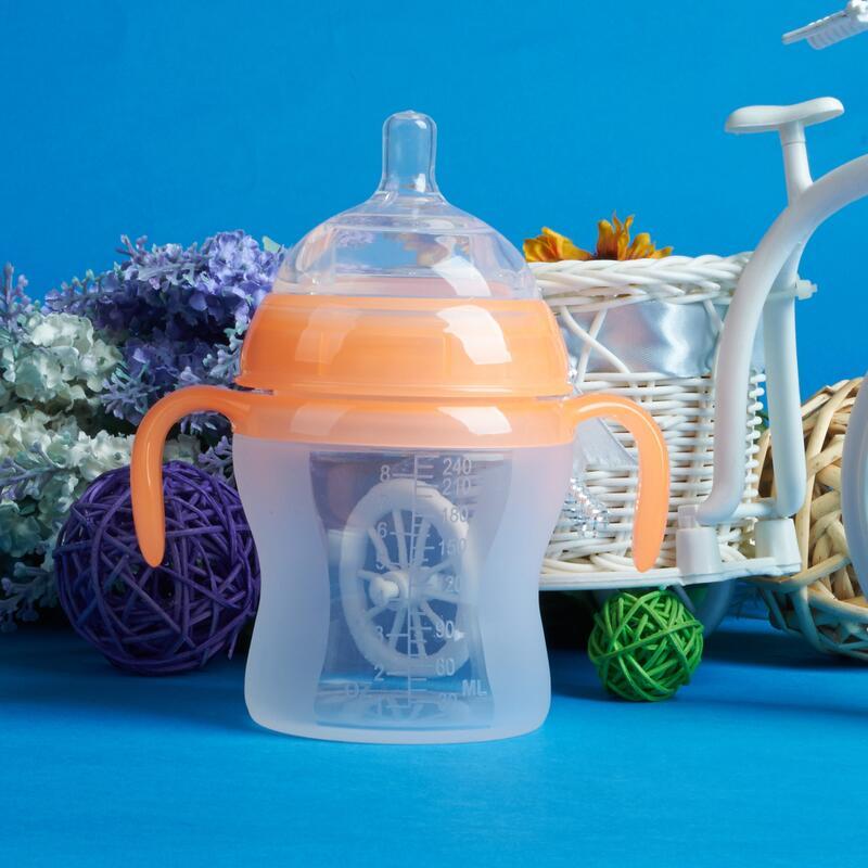 廠家直銷240mL帶手柄液體硅膠奶瓶嬰兒防脹氣防漏奶嘴超寬口奶瓶