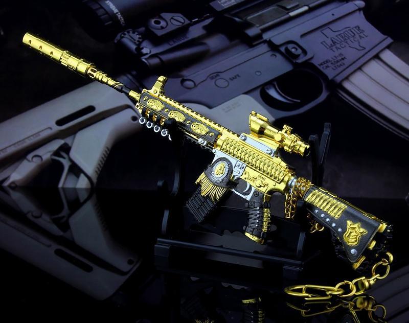 【現貨 - 送刀架】『 黃金獅王M416 』21cm 刀 劍 槍 武器 兵器 模型 no.4706