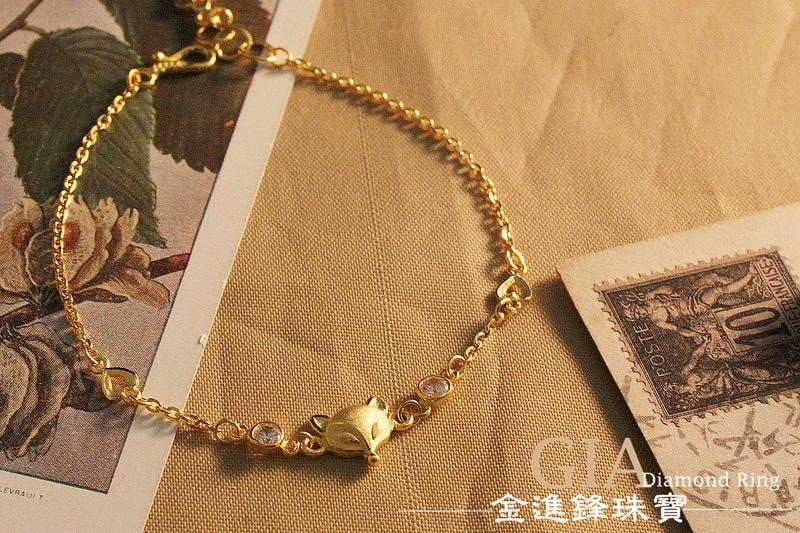 氣質鑽石狐仙 黃金手鍊 純金手鍊 金飾手鍊 G012887 重1.00錢 JF金進鋒珠寶金飾