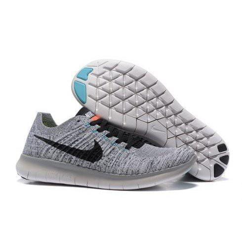 Nike Free RN Flyknit 淺灰 白底 黑勾 襪套 赤足 編織 雪花 灰白 男女