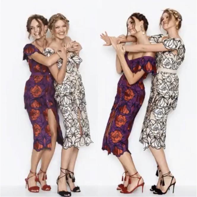 2895高級定制 Alice McCall一字領大花朵刺繡造型長裙收腰連衣裙
