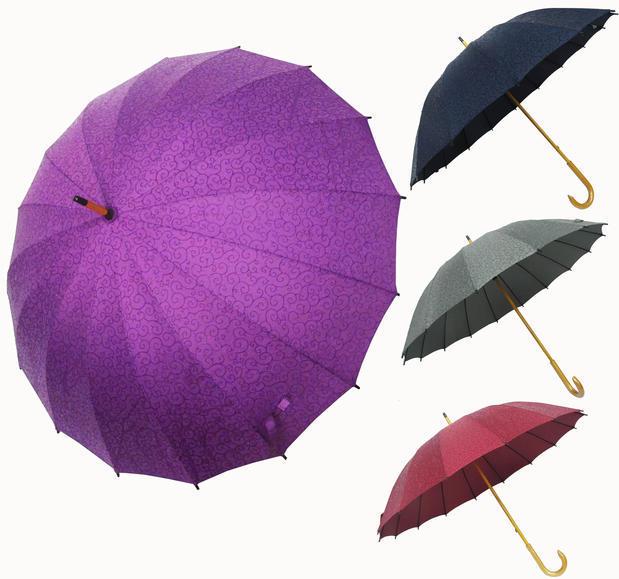 日本16骨創意遇水現花超大防風直桿三折睛雨傘櫻花長柄傘