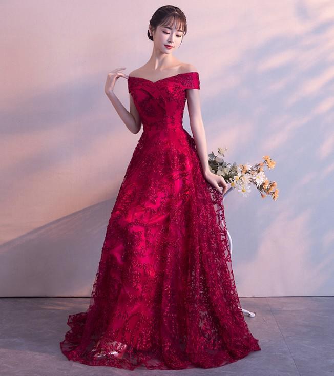 💎美晶聚禮服👗新娘敬酒服一字肩長款結婚訂婚禮服宴會晚禮服年會主持人禮服