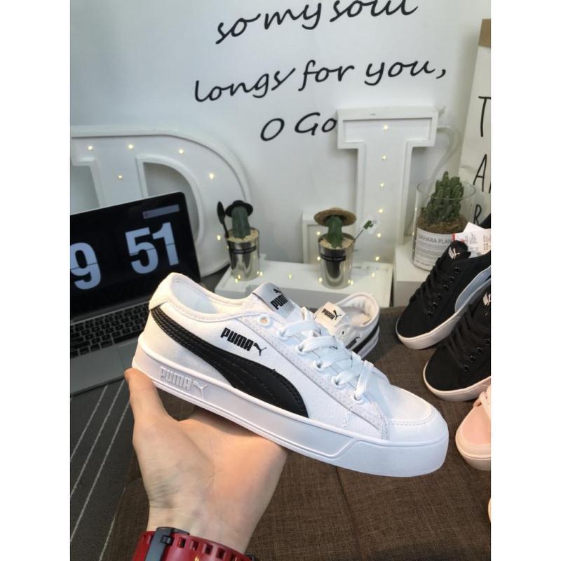 Puma 彪馬 SMASH V2 VULC CV 帆布開口笑新款男女子情侶跑步鞋運動鞋跑步鞋黑白板鞋運動鞋籃球鞋 情侶鞋