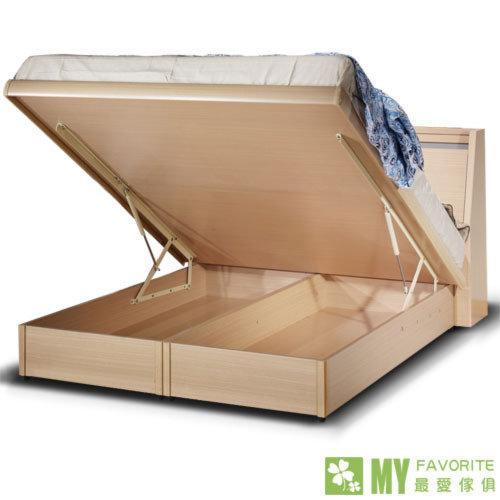 【喬立爾傢俱】雙子星白橡6呎床頭箱式後掀床台 ☆安心小館