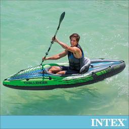 小江的店--【INTEX】挑戰者K1-單人運動獨木舟/橡皮艇(附單漿+手壓幫浦)(68305)
