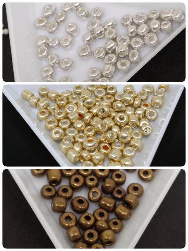 【DIY】4mm銀色/金色/古銅 玻璃鍍色珠 瓷珠 米珠 【10克12元】