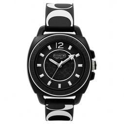大降價!全新美國名牌正品 COACH 黑底白色 C logo 男朋友款橡膠印花錶帶女錶手錶,下標就賣!免運!