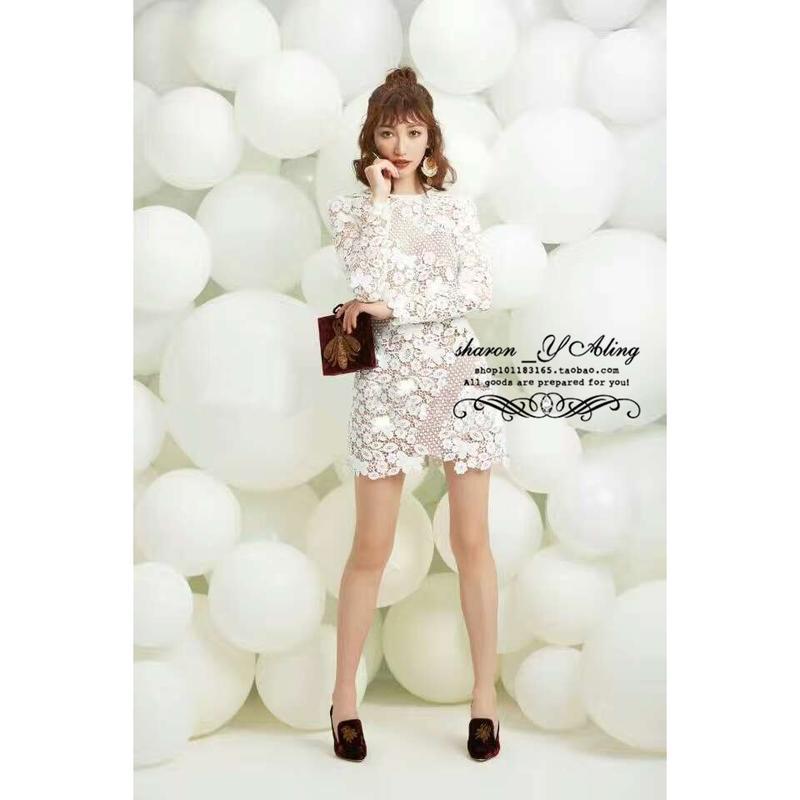 2795#冬季新款蝴蝶花朵蕾絲收腰內搭裙連衣裙