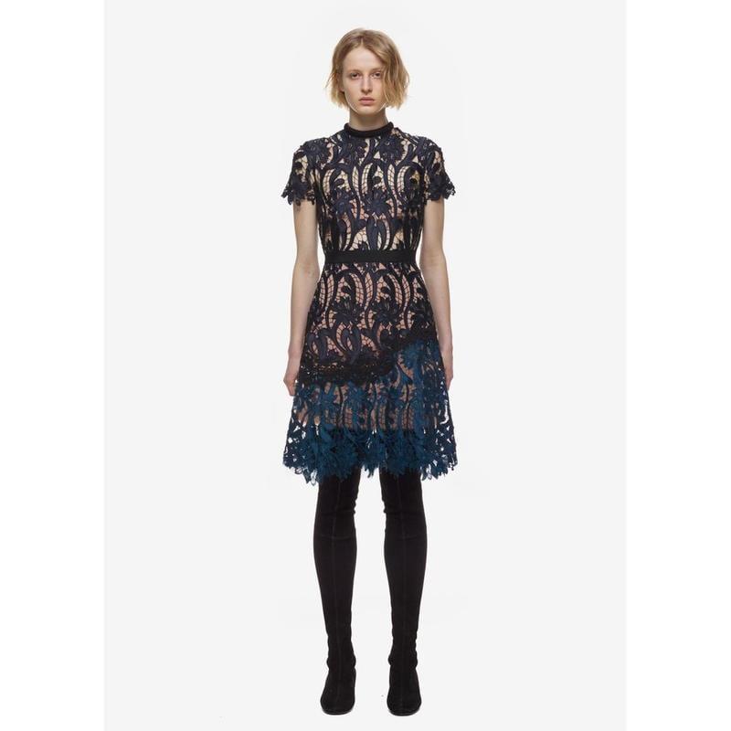 2772#Self Portrait同款雙色拼接蕾絲連衣裙
