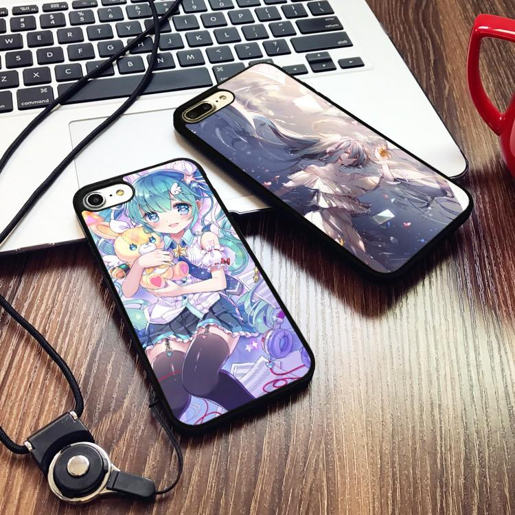 【開心買場】初音未來動漫男女款蘋果iphone7手機殼6PLUS硅膠情侶軟殼6S掛繩5S