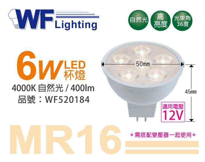 [喜萬年]含稅 舞光 LED 6W 4000K 自然光 12V 36度 MR16 杯燈_WF520184