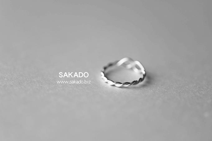 925純銀戒指-阪堂SAKADO-韓版設計師款尾戒--麻花繩(尺寸可調)