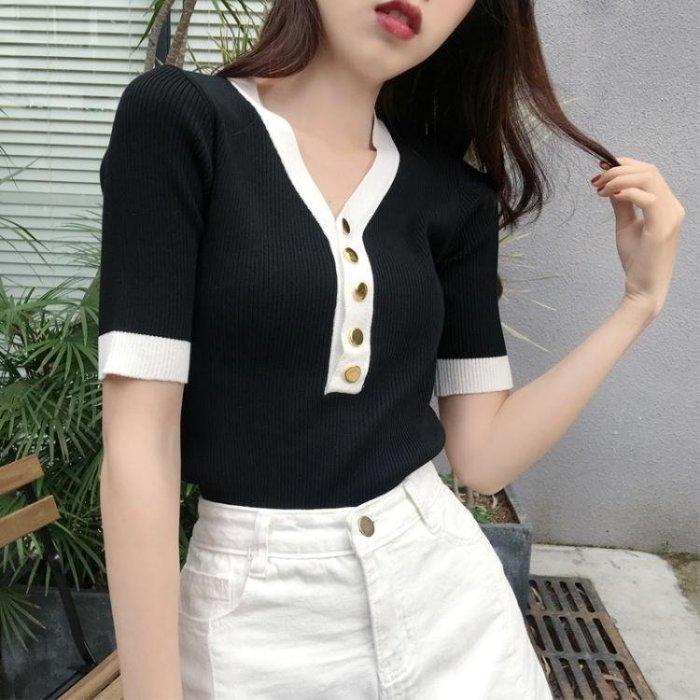 短袖女新款港味chic針織衫時尚V領撞色邊單排扣百搭修身顯瘦上衣