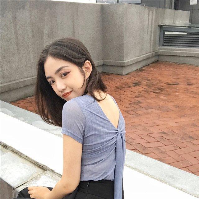 韓版復古chic風氣質純色蝴蝶結綁帶露背修身顯瘦V領短袖T恤女夏季