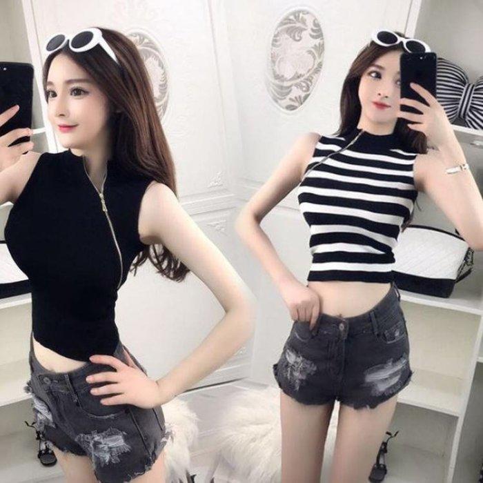 韓版時尚簡約性感斜拉鏈無袖短款上衣夏裝新款個性百搭背心女