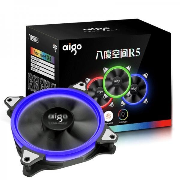 ~協明~ aigo 八度空間 R5 智能變色 12公分 光環系統 / 5顆RGB風扇12CM+控制器1個