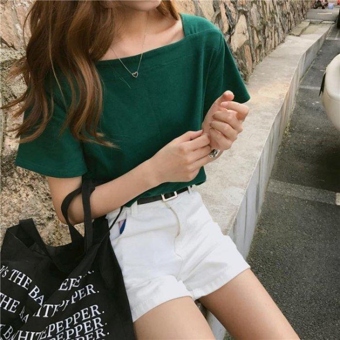 夏裝女裝韓版百搭小方領修身顯瘦純色短袖T恤百搭基礎款上衣學生