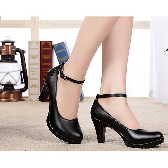 秋季一字扣單鞋真皮工作鞋黑色皮鞋女職業高跟鞋圓頭淺口氣質女鞋