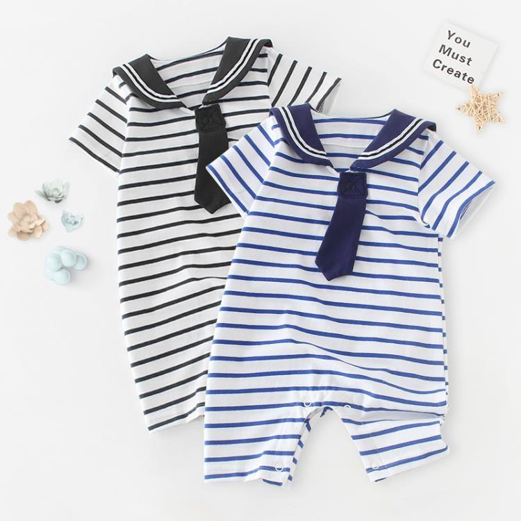 【可開發票】嬰兒夏裝爬行服寶寶短袖連體衣條紋薄款※優品百貨※