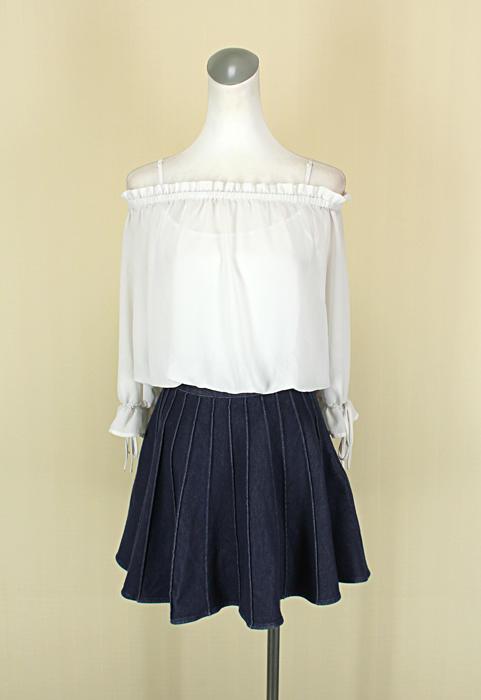 貞新二手衣 one more 專櫃 白色一字領長袖假兩件雪紡紗棉質洋裝S號 (39072)