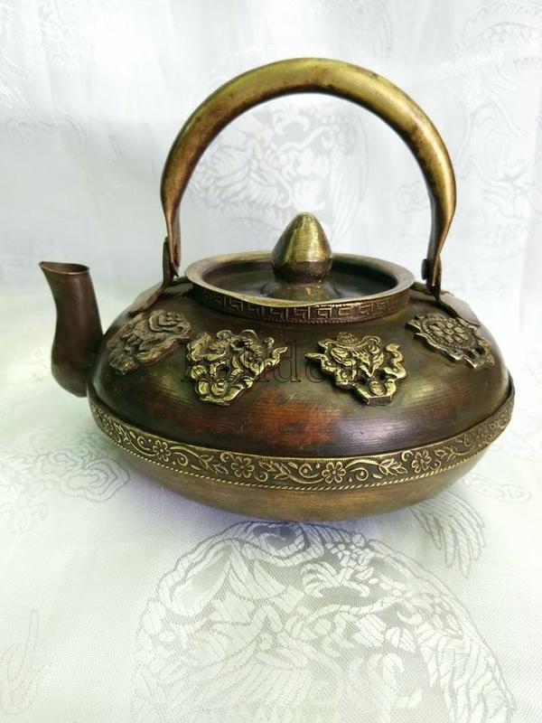 甘丹佛教文物 ^^ 尼泊爾 手工 八吉祥 奶茶壺 酥油壺 ( 莊嚴 雅致 )