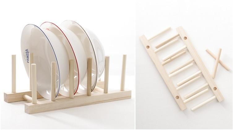 日式Zakka 天然原木 無漆無毒 餐盤架 瀝水架 碗盤架 展示架 晾乾架 書架 木架 雜誌架 收納架 木製 木質