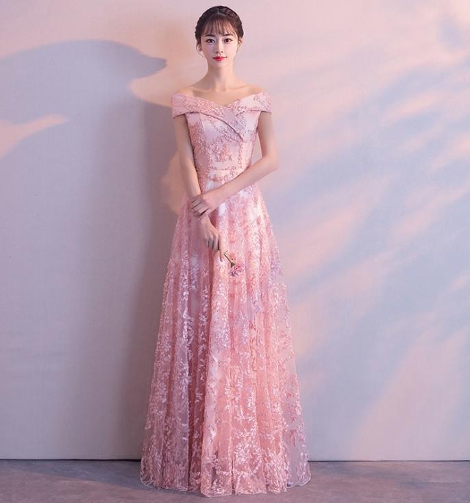 💎美晶聚禮服👗新娘敬酒服一字肩長款結婚訂婚禮服宴會晚禮服年會主持人禮服 E308036粉色