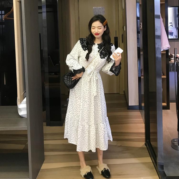韓版甜美波點雪紡裙子中長款長袖氣質洋裙夏季娃娃領A字裙女