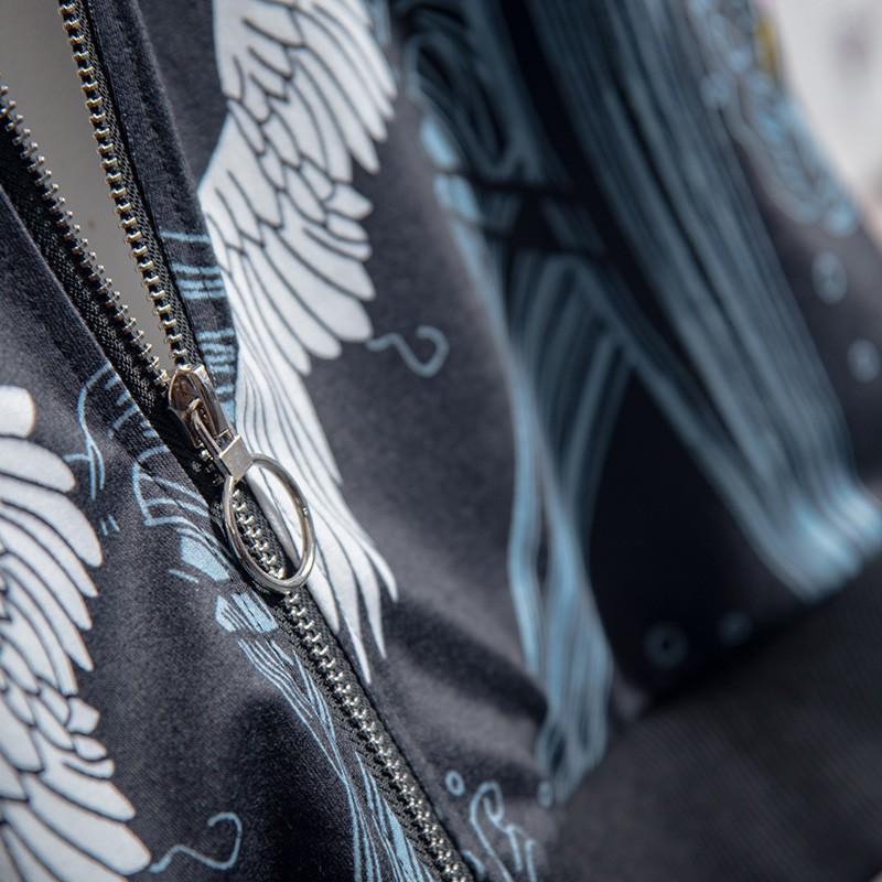 【開心買場】soinku中國風外套男韓版潮流春秋款中學生帥氣休閑飛鶴印花夾克衫