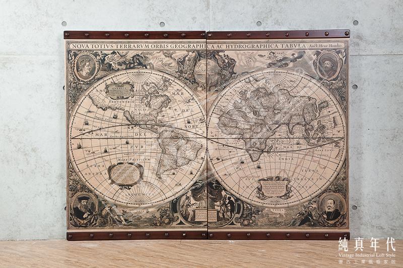 [純真年代工業風家居] 3K0200U LOFT工業風 世界地圖 木製掛畫