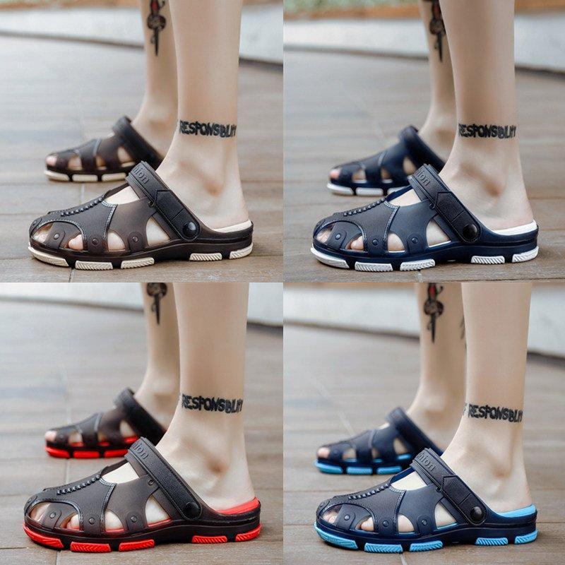 創意 韓版 夏季夏季時尚外穿涼拖鞋男兩用沙灘個性洞洞鞋男士涼鞋韓版潮流拖鞋男