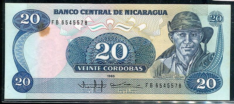 【國際】NICARAGUA (尼加拉瓜紙幣),P152,20-COR.,1985,品相9新AU  #1907030