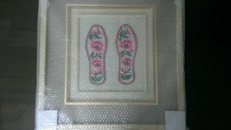繡花鞋底裝飾畫(加框)