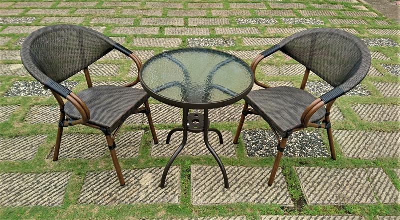 【加百列庭園休閒傢俱】歐式休閒風~半鋁玻璃圓桌+鋁合金編藤紗網椅~星巴克咖啡桌椅~戶外休閒桌椅~庭園景觀餐廳品茗必備款~