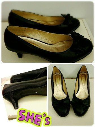 大尺碼 黑色圓頭蝴蝶結高跟鞋 43(26.5)