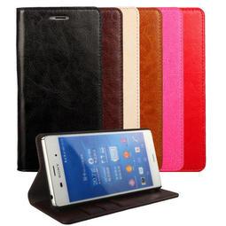 Sony Z3 D6653 牛皮真皮 手機皮套保護套保護殼 側翻蓋側掀左右翻 插卡站立支架多卡層 鋼化膜A908