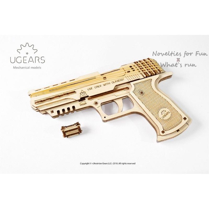 Ugears 沃夫001手槍 烏克蘭自我推進DIY模型 環保木製 可連射 WOLF HANDGUN